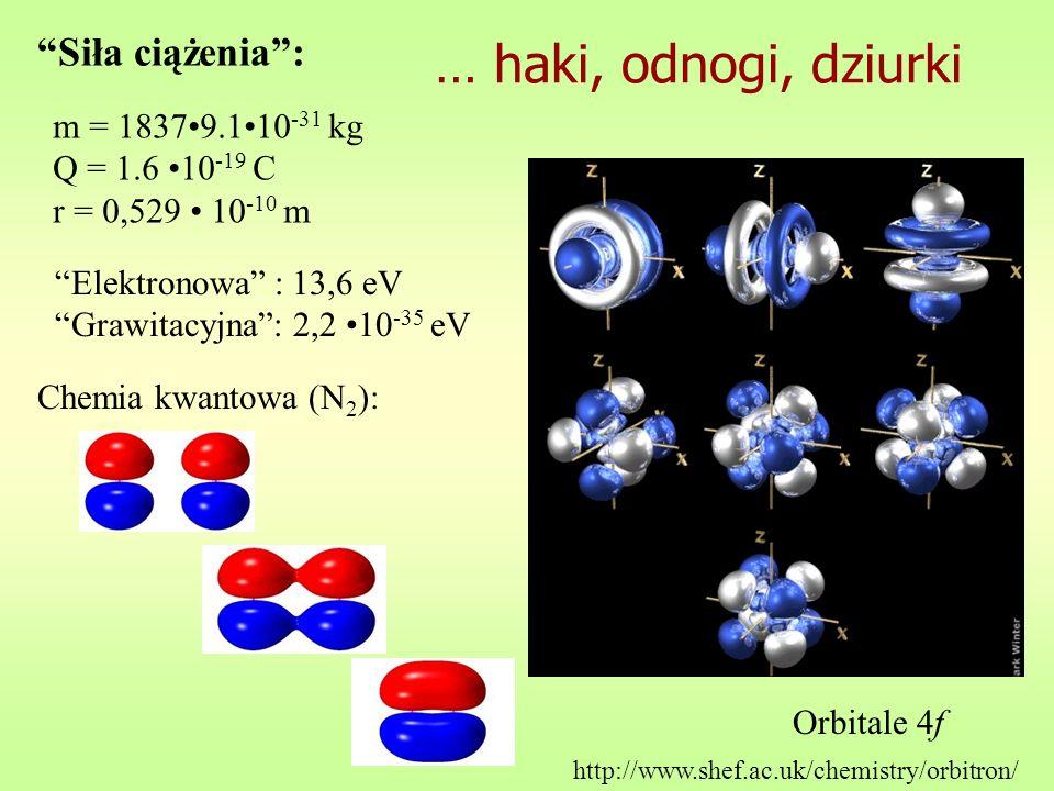 … haki, odnogi, dziurki Siła ciążenia : m = 1837•9.1•10-31 kg
