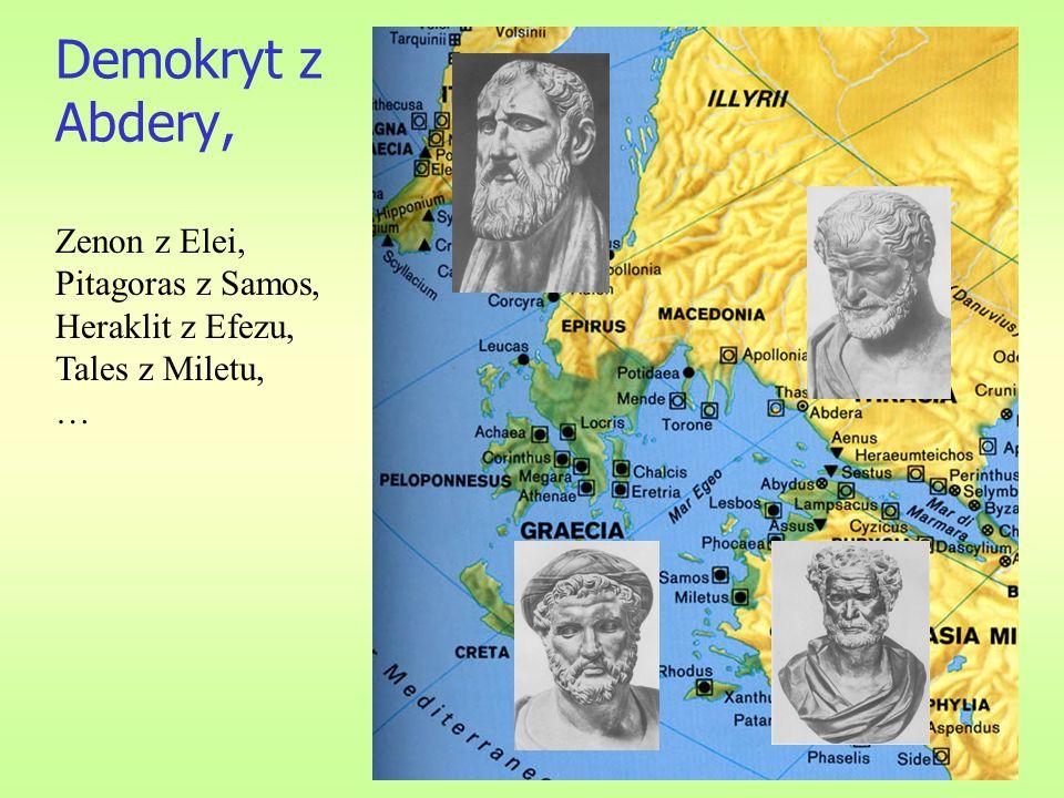 Demokryt z Abdery, Zenon z Elei, Pitagoras z Samos, Heraklit z Efezu,