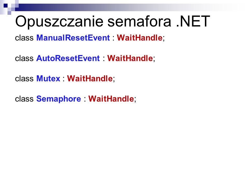 Opuszczanie semafora .NET