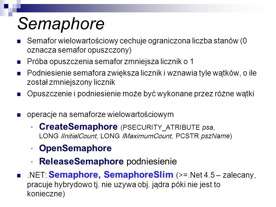 Semaphore Semafor wielowartościowy cechuje ograniczona liczba stanów (0 oznacza semafor opuszczony)