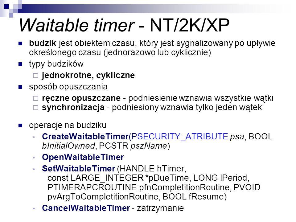 Waitable timer - NT/2K/XP