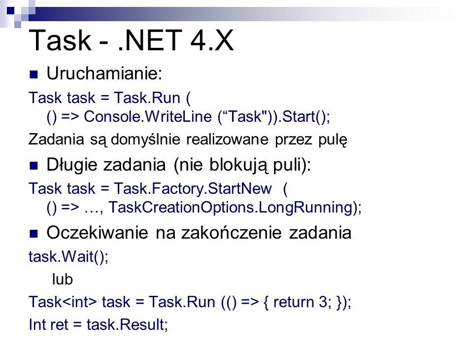 Task - .NET 4.X Uruchamianie: Długie zadania (nie blokują puli):