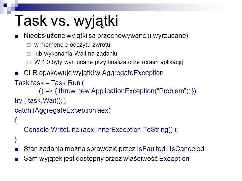 Task vs. wyjątki Nieobsłużone wyjątki są przechowywane (i wyrzucane)