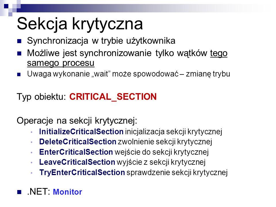 Sekcja krytyczna Synchronizacja w trybie użytkownika