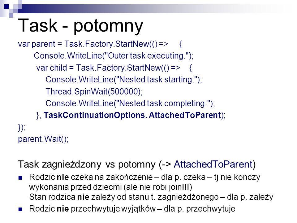 Task - potomny Task zagnieżdzony vs potomny (-> AttachedToParent)