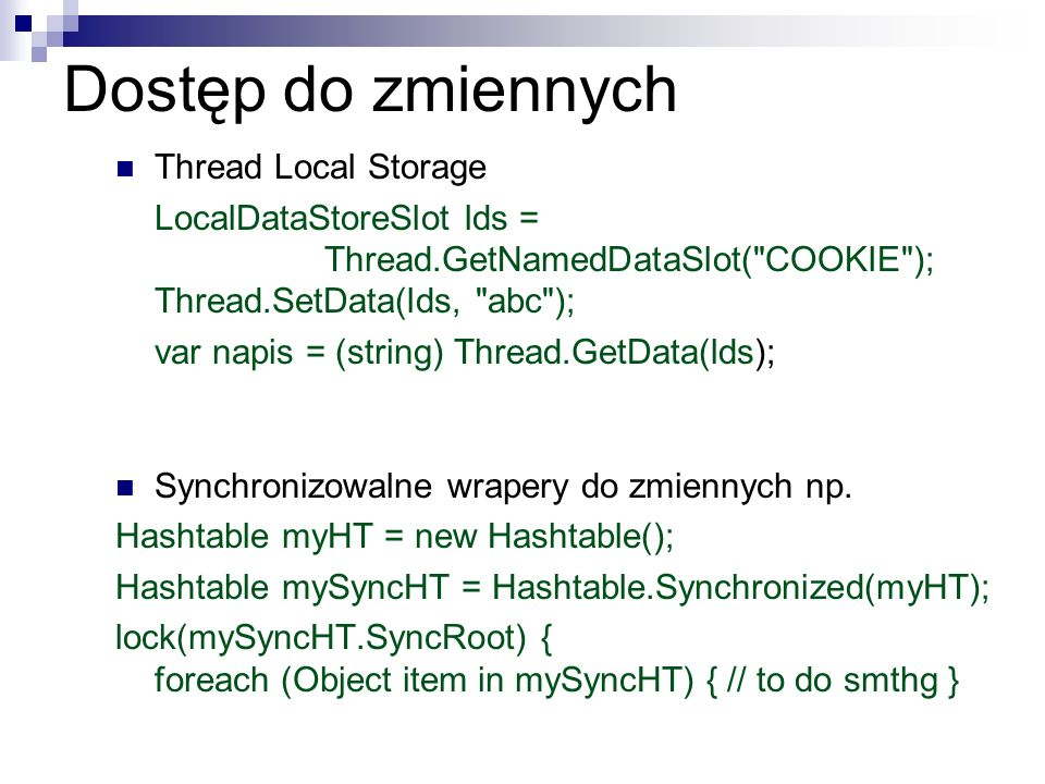 Dostęp do zmiennych Thread Local Storage