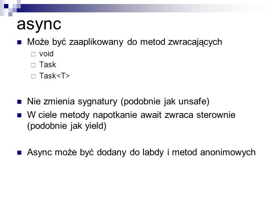 async Może być zaaplikowany do metod zwracających