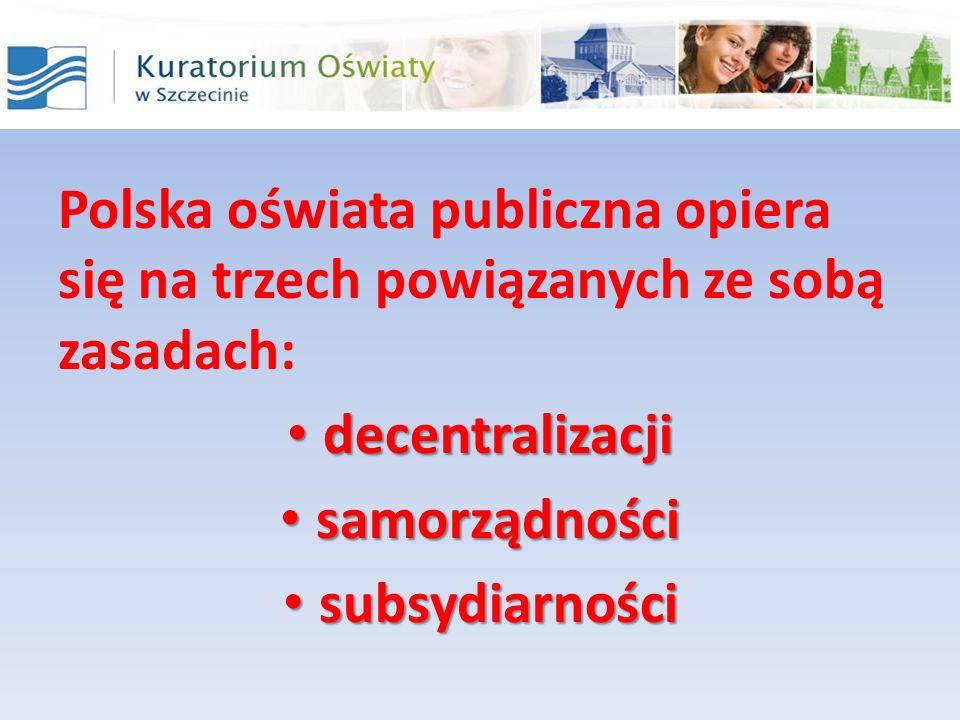 Polska oświata publiczna opiera się na trzech powiązanych ze sobą zasadach: