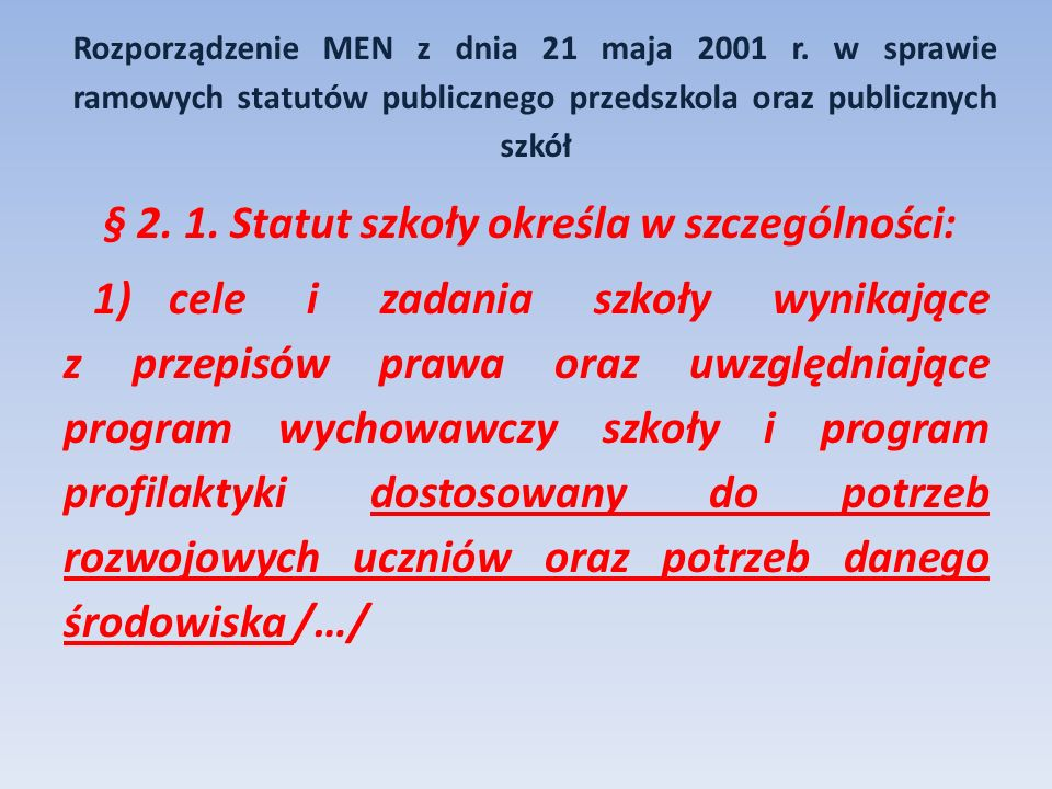 § 2. 1. Statut szkoły określa w szczególności:
