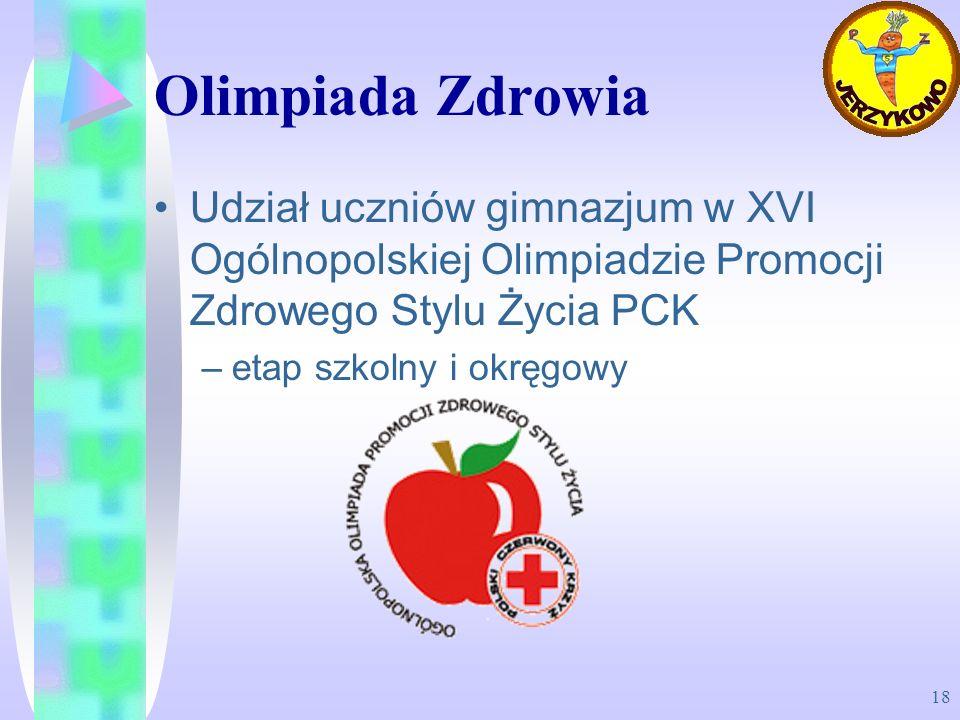 Olimpiada Zdrowia Udział uczniów gimnazjum w XVI Ogólnopolskiej Olimpiadzie Promocji Zdrowego Stylu Życia PCK.