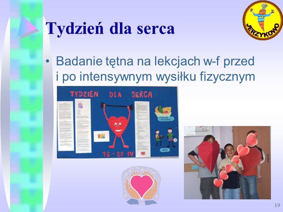 Tydzień dla serca Badanie tętna na lekcjach w-f przed i po intensywnym wysiłku fizycznym
