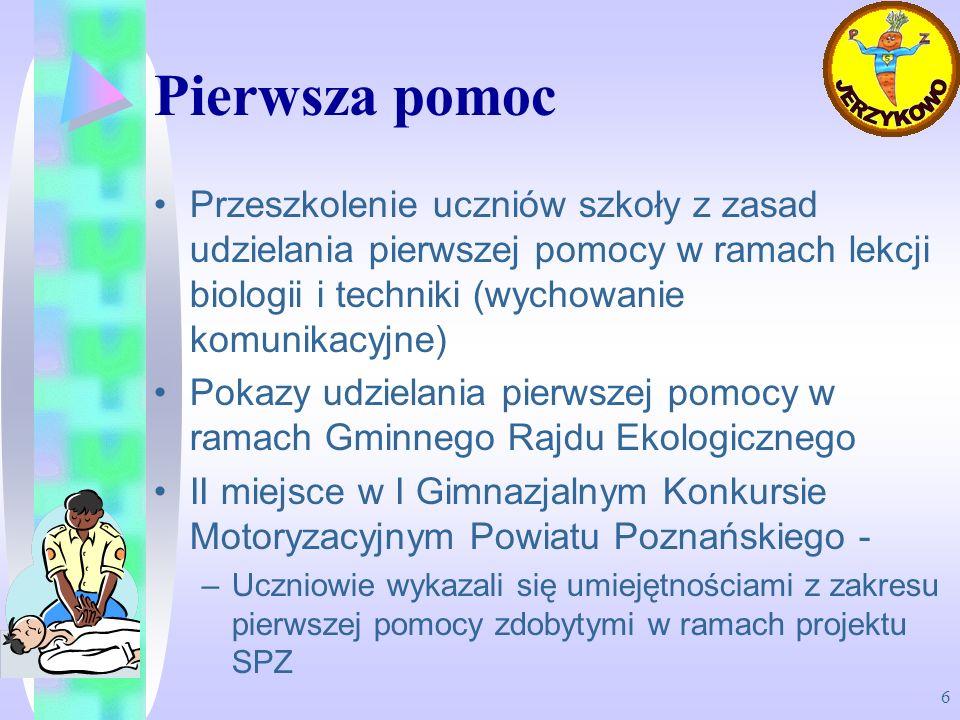 Pierwsza pomoc Przeszkolenie uczniów szkoły z zasad udzielania pierwszej pomocy w ramach lekcji biologii i techniki (wychowanie komunikacyjne)