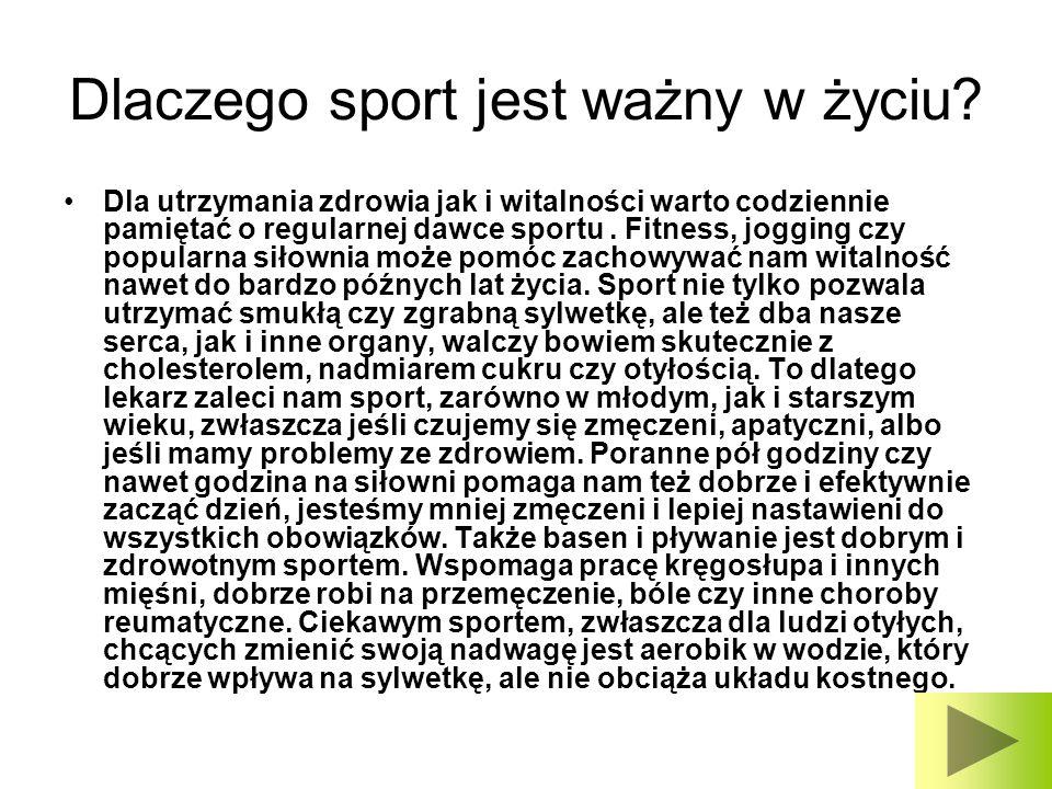 Dlaczego sport jest ważny w życiu