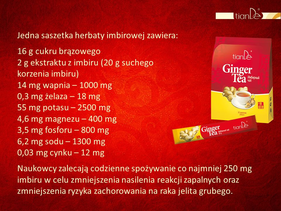 Jedna saszetka herbaty imbirowej zawiera: