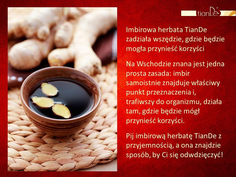 Imbirowa herbata TianDe zadziała wszędzie, gdzie będzie mogła przynieść korzyści
