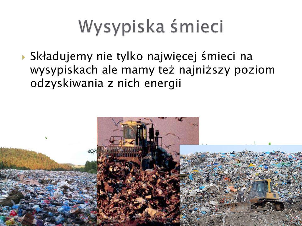 Wysypiska śmieci Składujemy nie tylko najwięcej śmieci na wysypiskach ale mamy też najniższy poziom odzyskiwania z nich energii.
