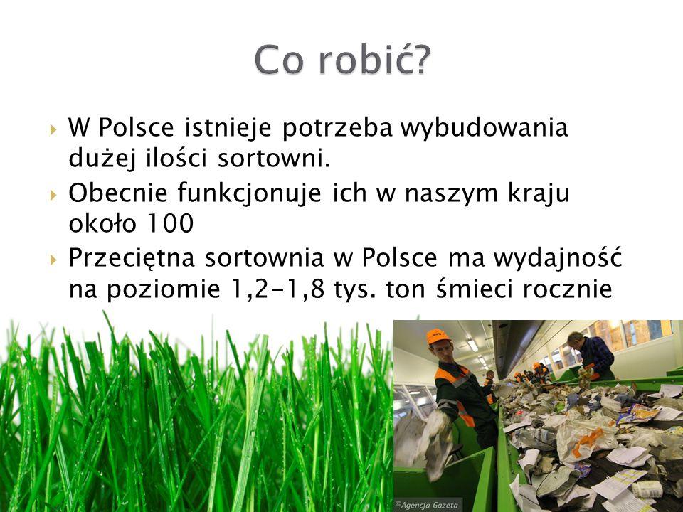 Co robić W Polsce istnieje potrzeba wybudowania dużej ilości sortowni. Obecnie funkcjonuje ich w naszym kraju około 100.