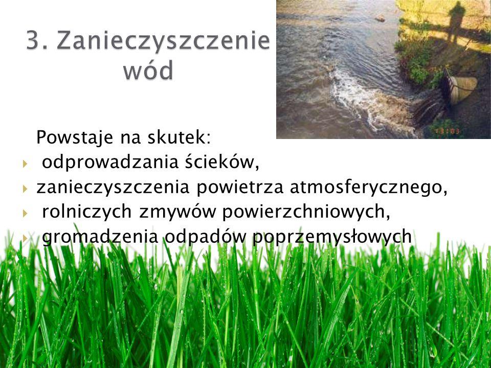 3. Zanieczyszczenie wód Powstaje na skutek: odprowadzania ścieków,
