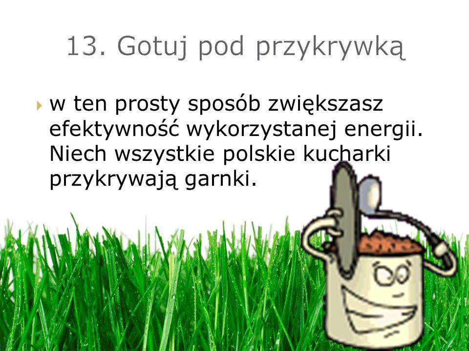 13. Gotuj pod przykrywką w ten prosty sposób zwiększasz efektywność wykorzystanej energii.