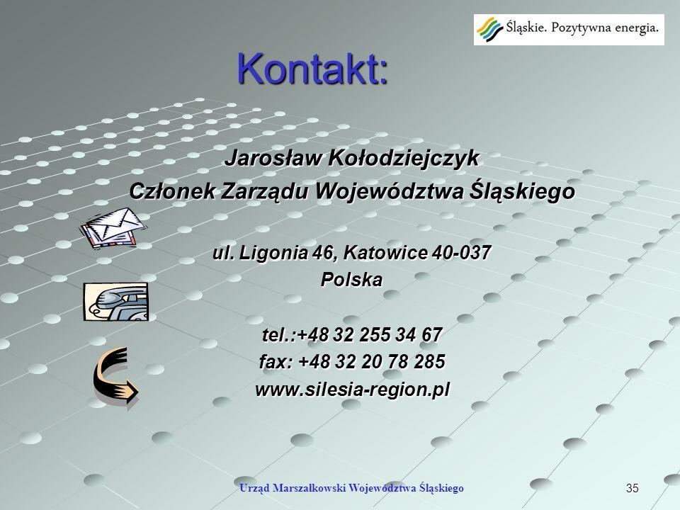 Kontakt: Jarosław Kołodziejczyk Członek Zarządu Województwa Śląskiego