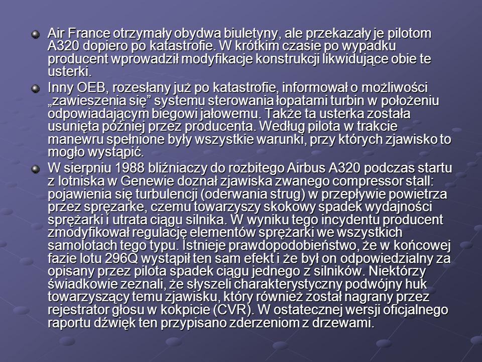 Air France otrzymały obydwa biuletyny, ale przekazały je pilotom A320 dopiero po katastrofie. W krótkim czasie po wypadku producent wprowadził modyfikacje konstrukcji likwidujące obie te usterki.