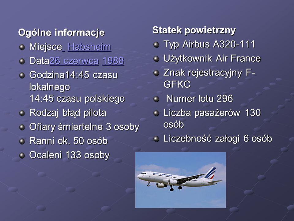 Statek powietrzny Typ Airbus A320-111. Użytkownik Air France. Znak rejestracyjny F-GFKC. Numer lotu 296.
