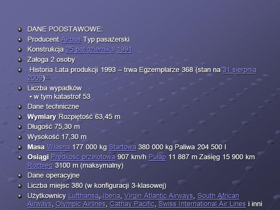 DANE PODSTAWOWE: Producent Airbus Typ pasażerski. Konstrukcja 25 października 1991. Załoga 2 osoby.