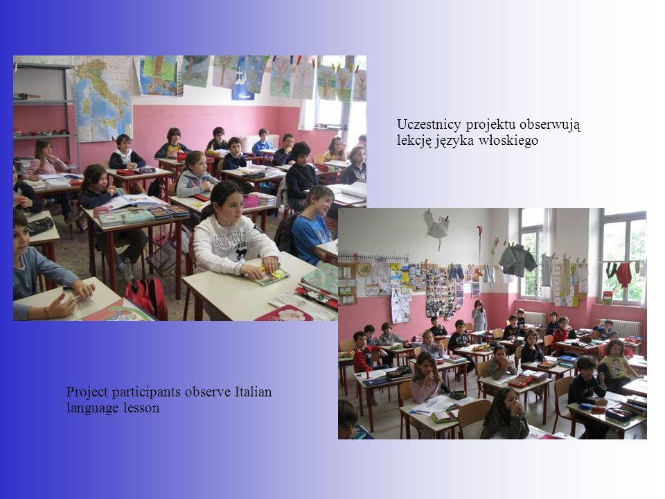 Uczestnicy projektu obserwują lekcję języka włoskiego