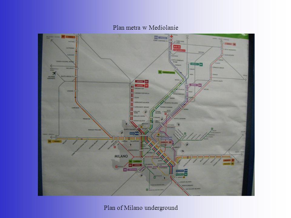 Plan metra w Mediolanie