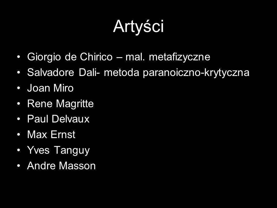 Artyści Giorgio de Chirico – mal. metafizyczne