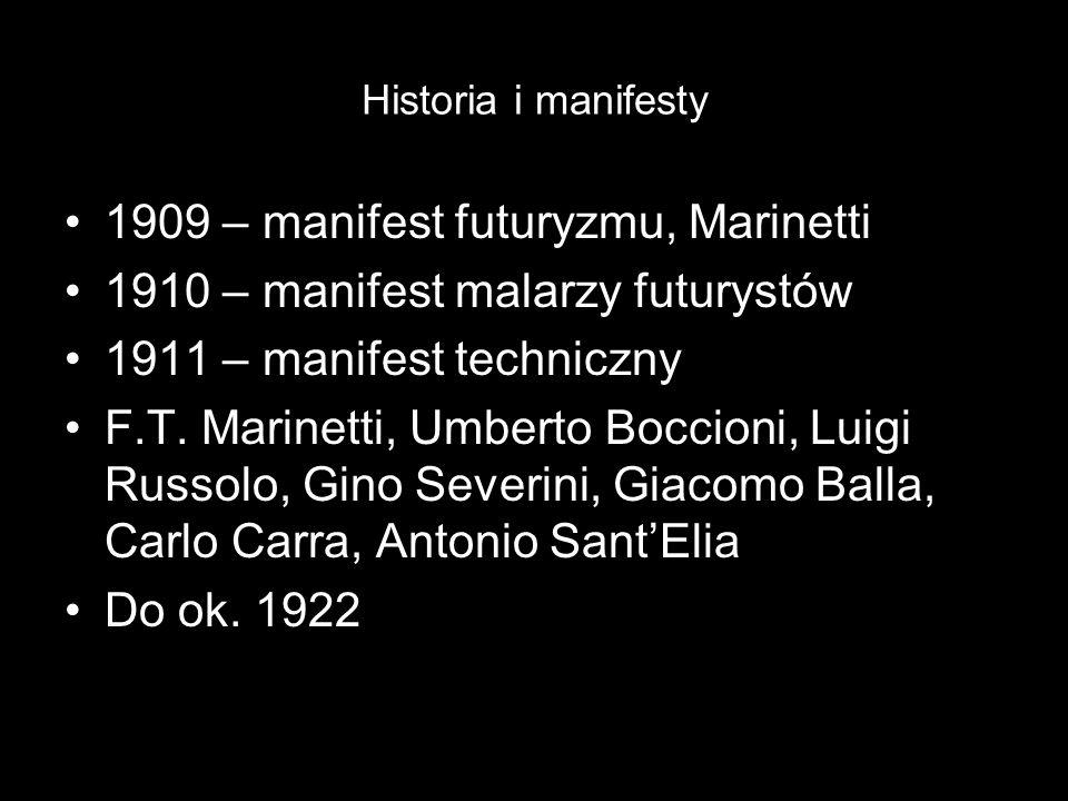 1909 – manifest futuryzmu, Marinetti