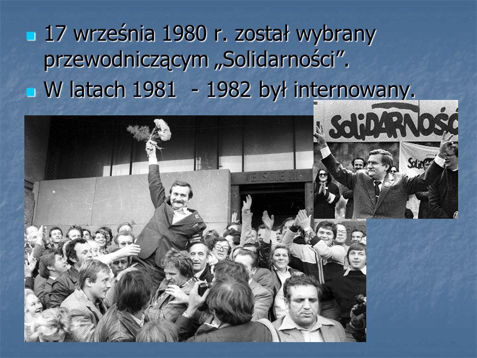 """17 września 1980 r. został wybrany przewodniczącym """"Solidarności ."""