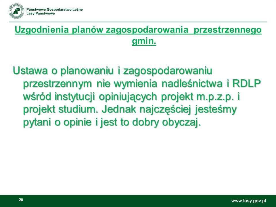 Uzgodnienia planów zagospodarowania przestrzennego gmin.