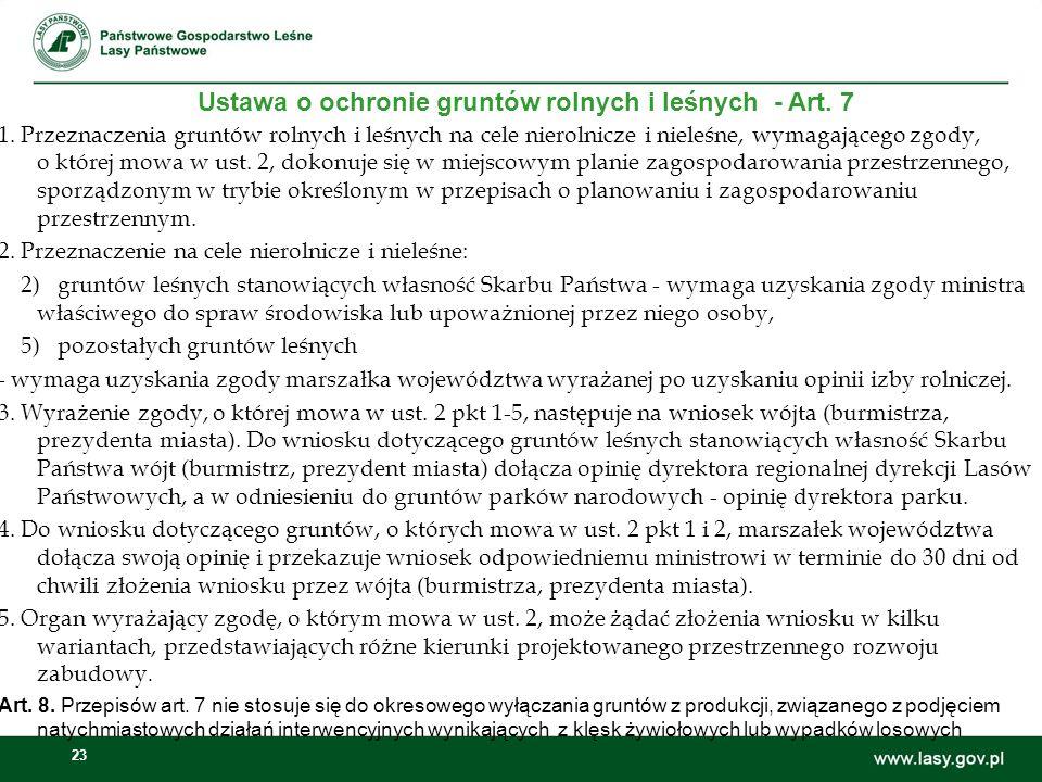 Ustawa o ochronie gruntów rolnych i leśnych - Art. 7
