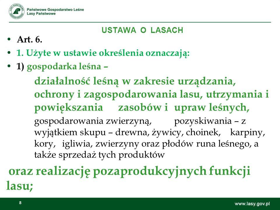 1. Użyte w ustawie określenia oznaczają: 1) gospodarka leśna –
