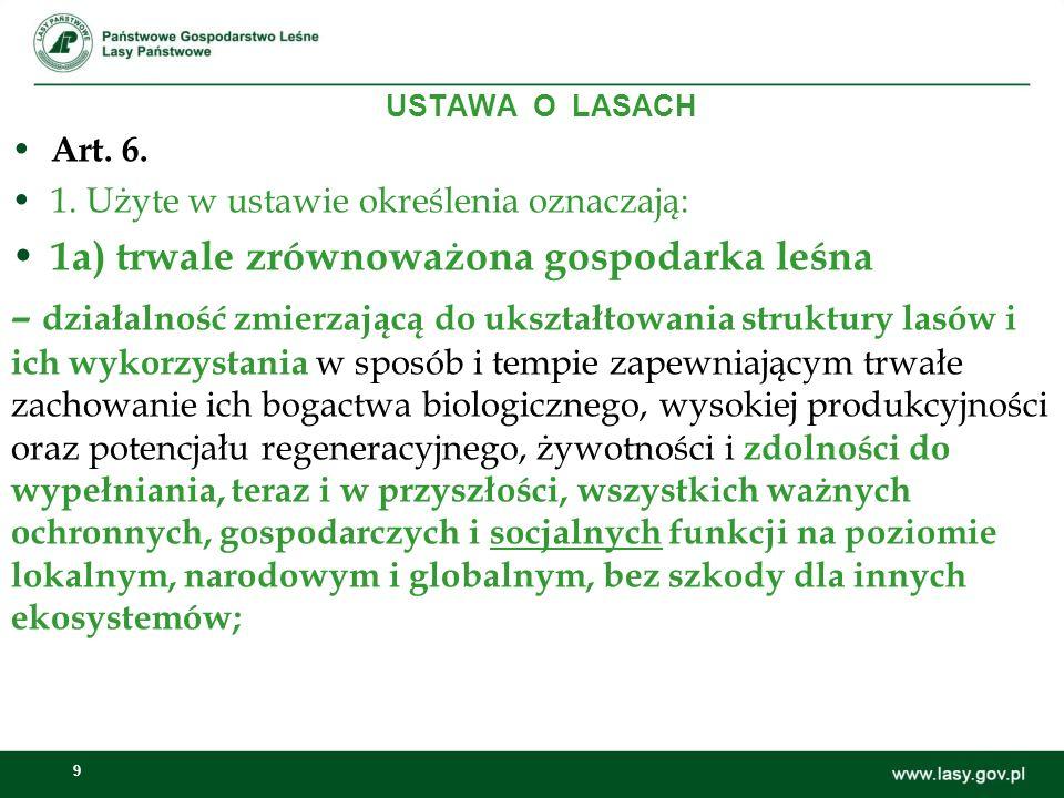 1a) trwale zrównoważona gospodarka leśna