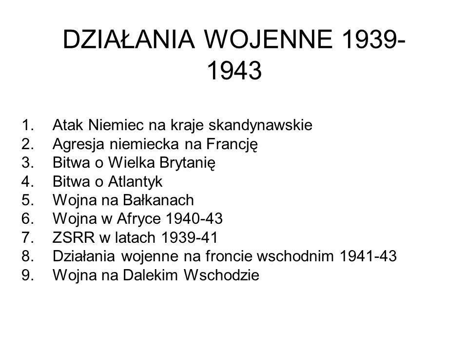 DZIAŁANIA WOJENNE 1939-1943 Atak Niemiec na kraje skandynawskie