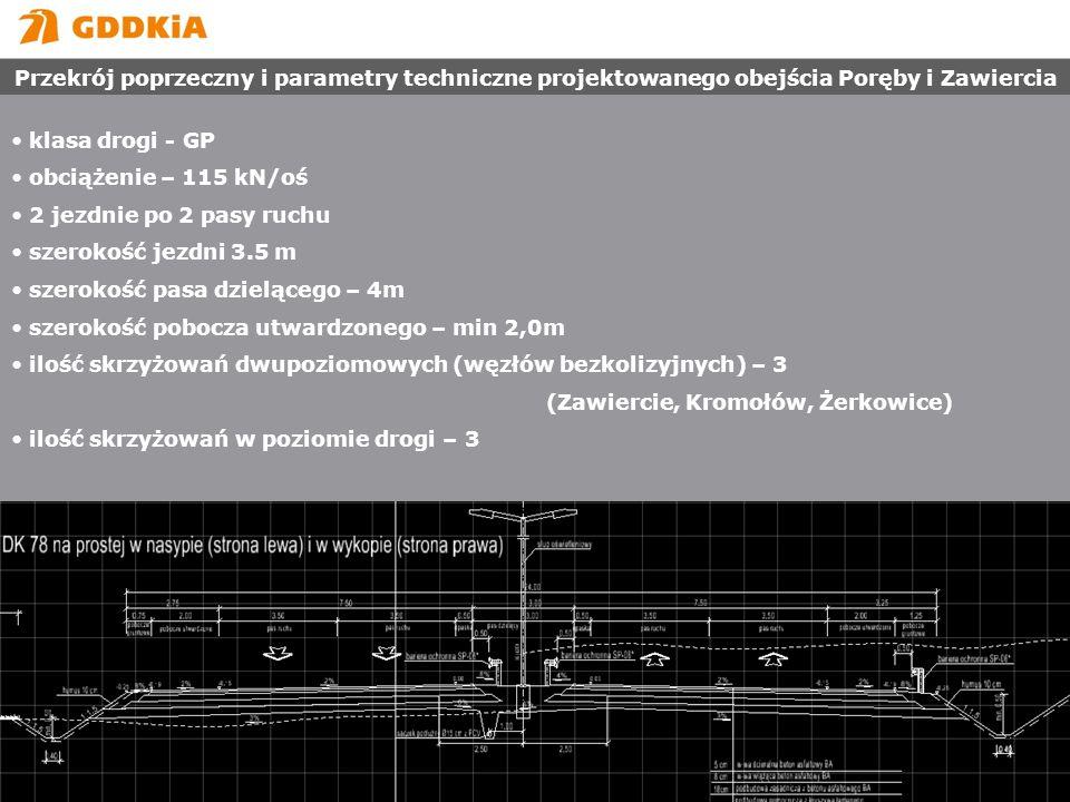 Przekrój poprzeczny i parametry techniczne projektowanego obejścia Poręby i Zawiercia