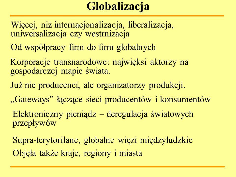 Globalizacja Więcej, niż internacjonalizacja, liberalizacja, uniwersalizacja czy westrnizacja. Od współpracy firm do firm globalnych.
