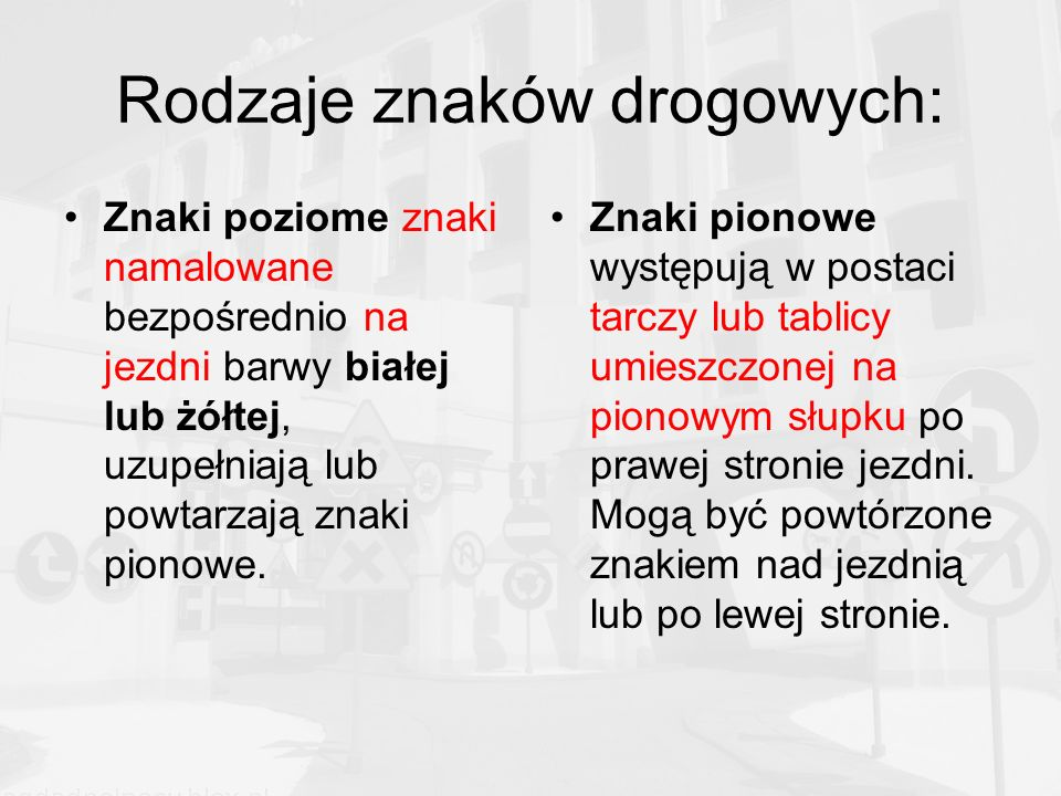 Rodzaje znaków drogowych: