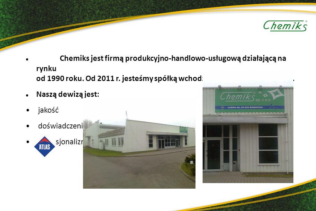 3 Chemiks jest firmą produkcyjno-handlowo-usługową działającą na rynku od 1990 roku. Od 2011 r. jesteśmy spółką wchodzącą w skład GRUPY ATLAS.