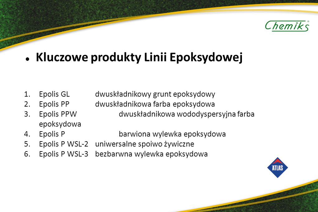 Kluczowe produkty Linii Epoksydowej