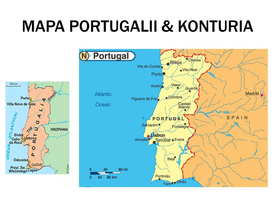 MAPA PORTUGALII & KONTURIA