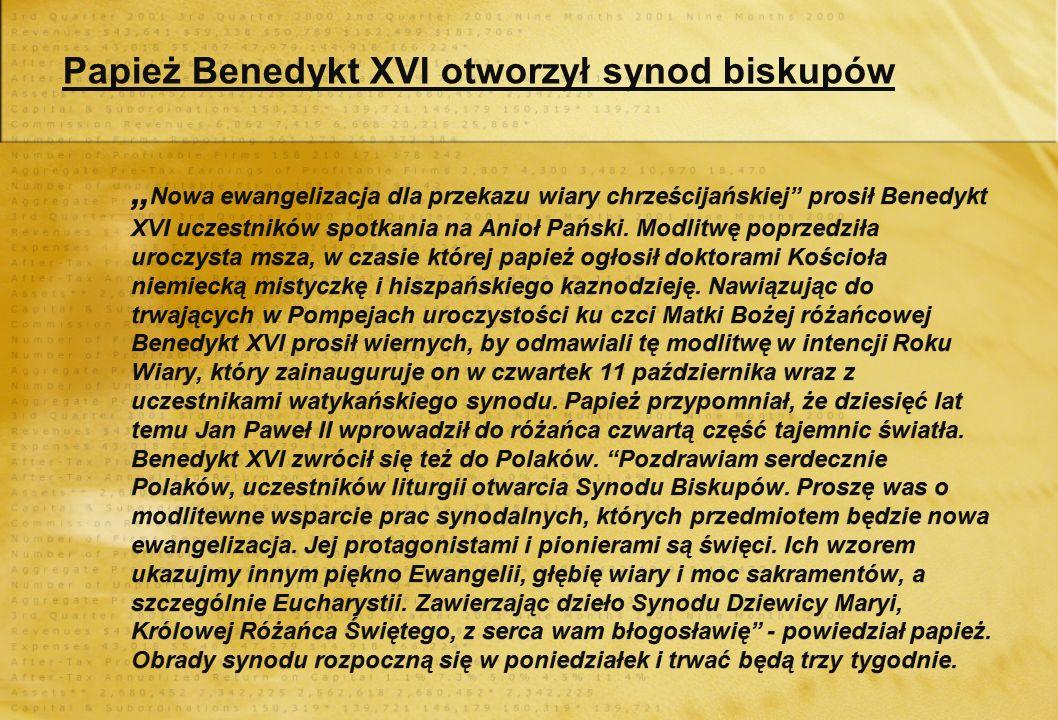 Papież Benedykt XVI otworzył synod biskupów