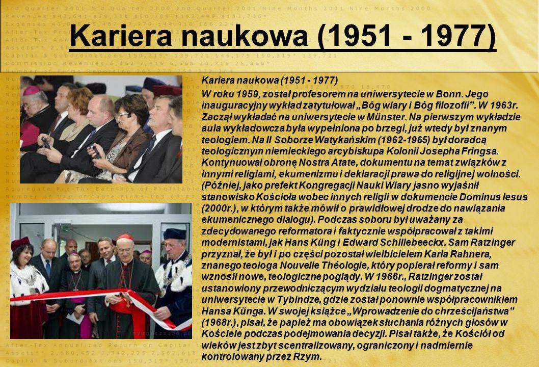 Kariera naukowa (1951 - 1977) Kariera naukowa (1951 - 1977)