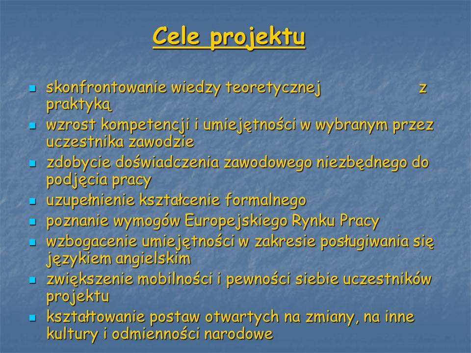 Cele projektu skonfrontowanie wiedzy teoretycznej z praktyką