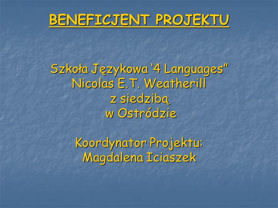 BENEFICJENT PROJEKTU Szkoła Językowa '4 Languages