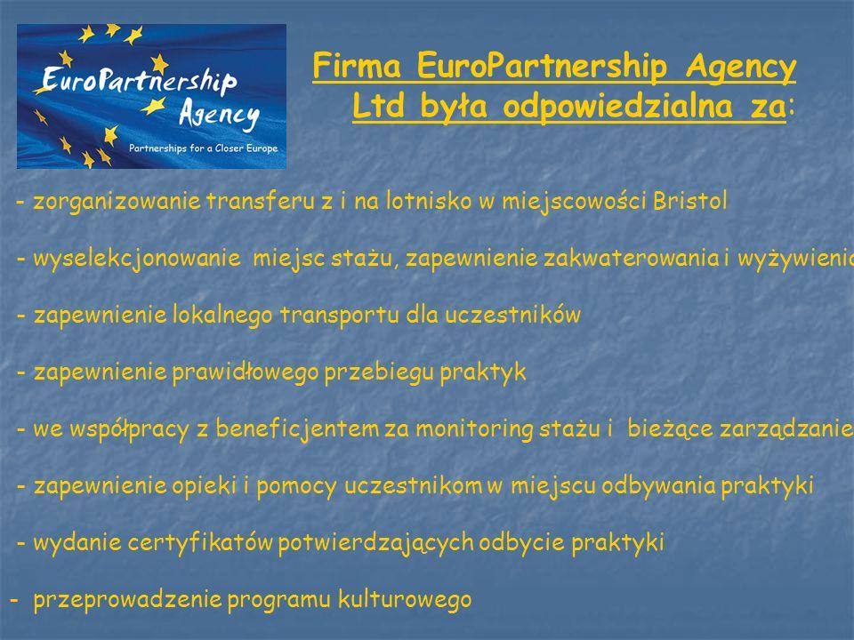 Firma EuroPartnership Agency Ltd była odpowiedzialna za: