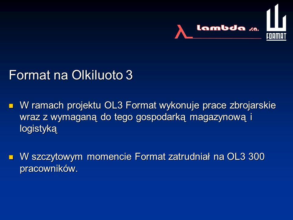Format na Olkiluoto 3 W ramach projektu OL3 Format wykonuje prace zbrojarskie wraz z wymaganą do tego gospodarką magazynową i logistyką.