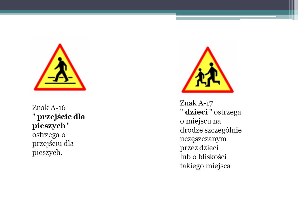 Znak A-17 dzieci ostrzega o miejscu na drodze szczególnie uczęszczanym przez dzieci lub o bliskości takiego miejsca.